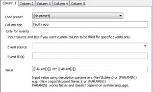 App error custom columns