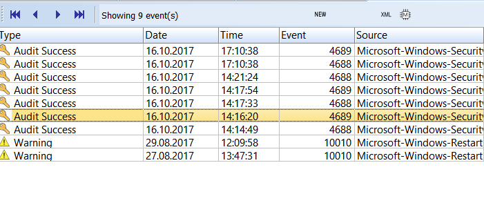 The fastest way to filter events by description | Event Log