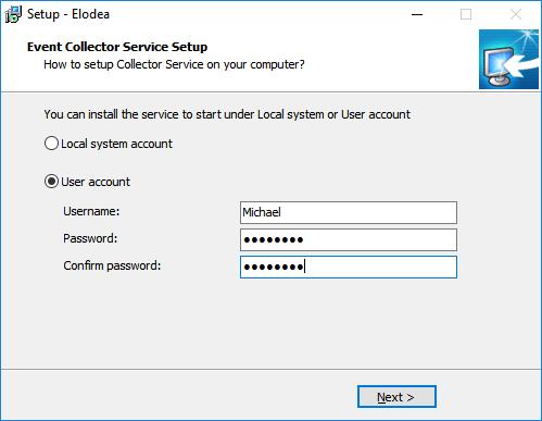 Elodea - service setup.