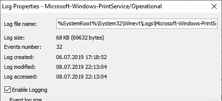 """enable-printer-log """"class ="""" wp-image-395 """"srcset ="""" https://eventlogxp.com/blog/wp-content/uploads/2019/07/enable-printer-log-e1562672578623.png 453w, https : //eventlogxp.com/blog/wp-content/uploads/2019/07/enable-printer-log-e1562672578623-300x137.png 300w """"tailles ="""" (largeur max: 453px) 100vw, 453px """"/></figure> <p>Ou tout simplement courir <strong>wevutil</strong> dans l'invite élevée comme suit:</p> <pre class="""